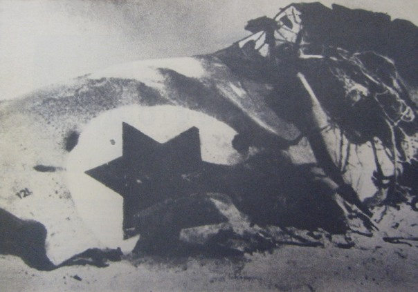 "Wreck of an Israeli F-4E ""Phantom"" (left Jet Intake) downed by Russian SA-3 (Egypt, jul-70)"