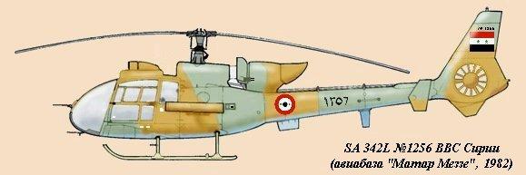 """В Сирию, начиная с конца 1976 года было поставлено около 60 вертолетов """"Газель"""" (нумерация в пределах 1201-1260). Первая партия включала 30 SA.342K, 16 SA.342L и 216 ПТУР """"НОТ"""", а вторая партия полученная в 1984 году состояла из 15 SA.342K (в т.ч. 5 доработанных под ПТУР) и 180 ракет """"НОТ"""""""